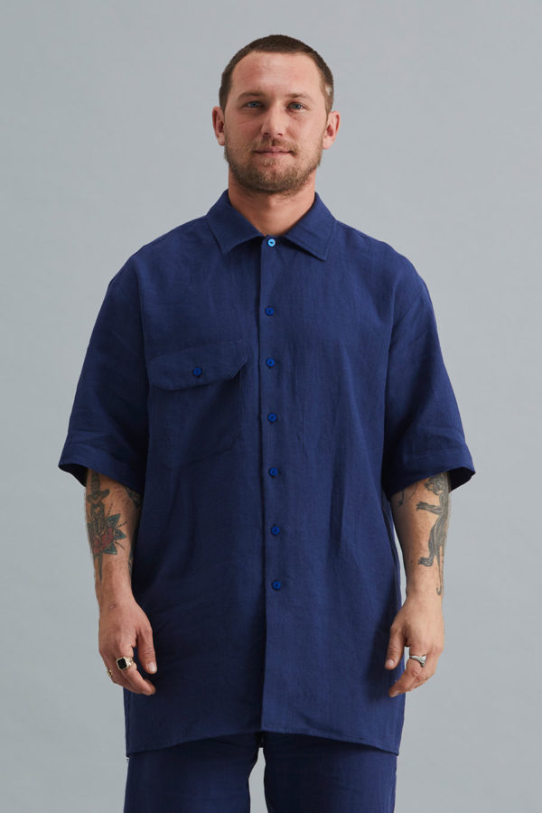 Short Sleeve Collar Shirt - Navy Linen