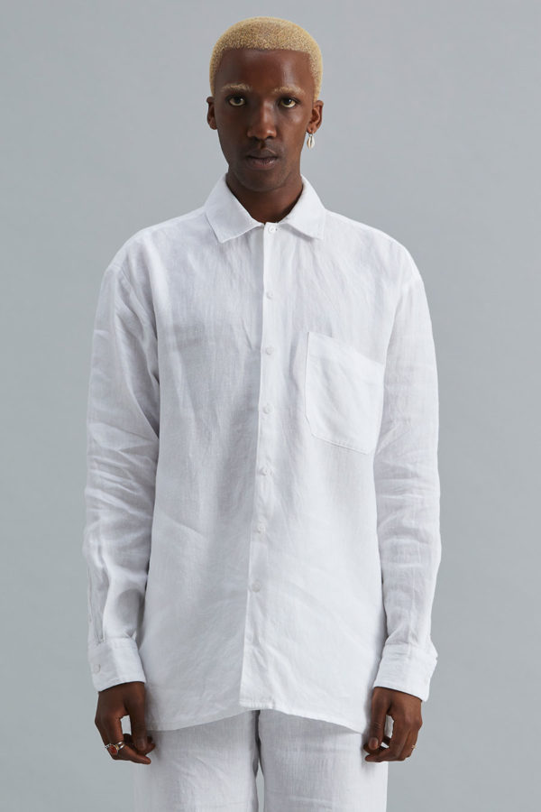 Long Sleeve Collar Shirt - White Linen