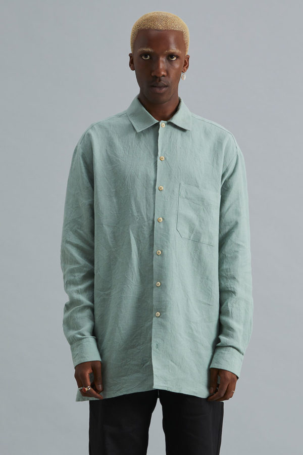 Long Sleeve Collar Shirt - Sage Linen