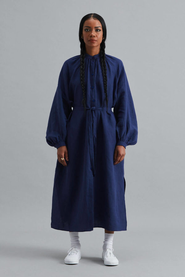 Nehru Collar Dress - Navy Linen