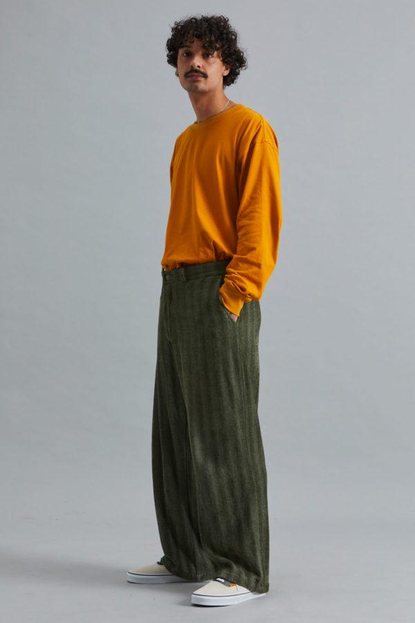 Full Length Trouser - Olive Herringbone