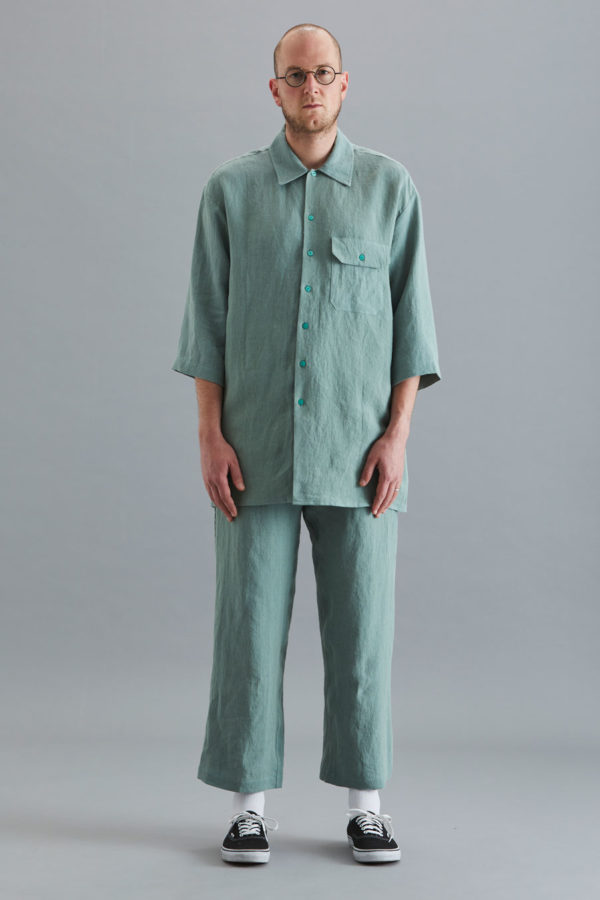 3/4 Sleeve Collar Shirt - Sage Linen