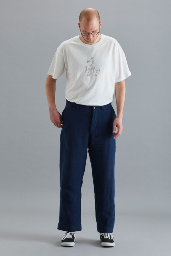 Cropped Trouser - Navy Linen