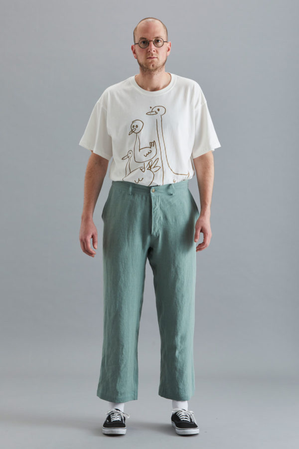 Cropped Trouser - Sage Linen