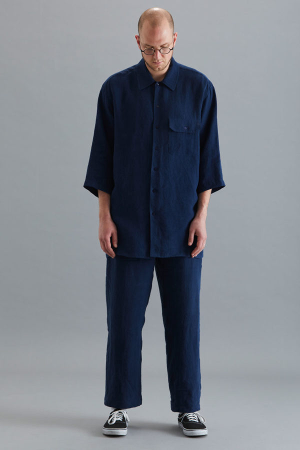 3/4 Sleeve Collar Shirt - Navy Linen