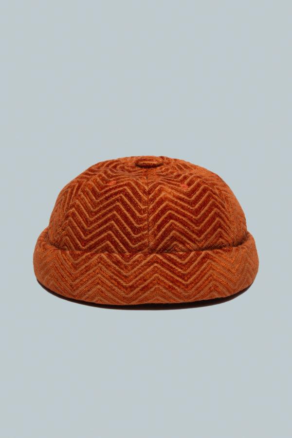 Yarmulke Short Cap - Namib Orange Kuba Zag