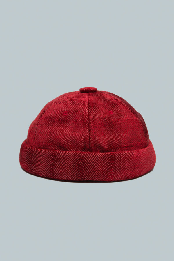 Yarmulke Short Cap - Red Herringbone