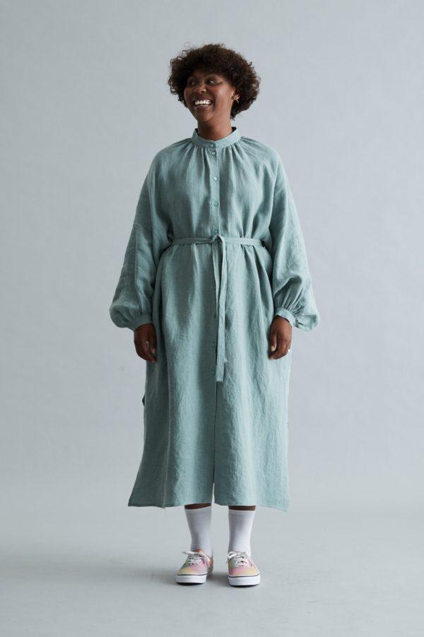 Nehru Collar Dress - Sage Linen
